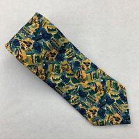 Ermenegildo Zegna Mens Tie Necktie Blue Yellow Abstract 100% Silk Short Wide