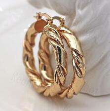 """18K Gold Filled - 1.6"""" Earrings Geometry Concave Swirl Wave Women Hoop Ball DS"""