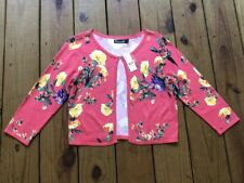 NWT 7th Avenue women's M coral floral 3/4 sleeve hook front light knit cardigan