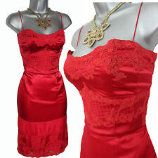 Karen Millen UK 12  Red Silk & Lace Strapless (Straps) Prom Cocktail Dress EU 40