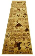 Lodge Country Western Theme 3 X 8 Rug Cowboy Hat Horse Shoes Boots New
