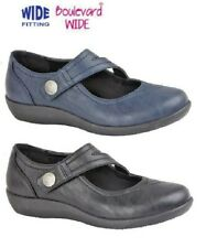 LADIES WIDE EE FIT CASUAL SHOES TOUCH FASTENING NAVY BLACK SIZE 3,4,5,6,7,8,9 UK