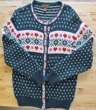 Women's VTG 1989 EDDIE BAUER Green Red Heart 100% WOOL Cardigan Sweater Size M