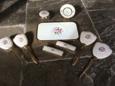 Vintage Petit Point Lace Gold Dressing Table Set With Working Clock vgc Estyma