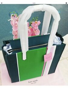🌸NWT Kate Spade Kitt Stripe Extra Large North South Tote Conifer Green New $198