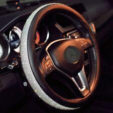 """Car Crystal Steering Wheel Cover Pu Leather Rhinestones Black Bling Bling 15"""""""