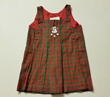 Girls STRASBURG boutique jumper dress 18M 12-18 plaid snowman Christmas plaid