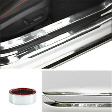 Silver PVC Car Scuff Plate Door Sill Cover Panel Step 1x Protector Pedal Strip