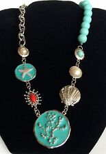 Silver Plated Sea Life Necklace Earrings Aqua Shell Island Beach Pearl 18-21""
