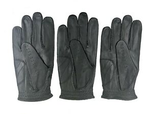 ***New***  (3) Mens All Cabretta Black Leather Golf Gloves (Right Hand)