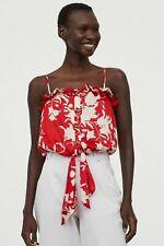 Johanna Ortiz x H&M Tie-hem Satin Blouse Red Top *NWT *XS,S,M,XL