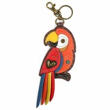 Chala -  Red Parrot  - Key Fob / Coin Purse