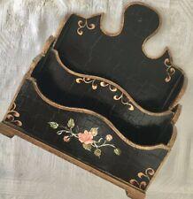 Antique Tole Painted Black Gold Pink Floral Florentine French Desk Letter Box