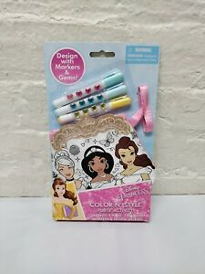New Disney Princess Color N Style Purse Activity Markers, Stickers, And Gems Toy