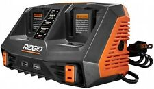 RIDGID Sequential Battery Charger 18V Dual Port 2 USB Ports 2 AC Outlets