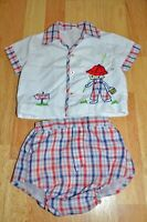 Vintage 2 Piece Baby's Infants Shirt & Plastic Lined Bottoms Set Boy Fishing GUC