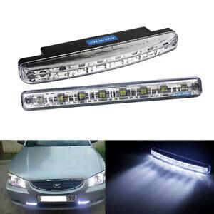 Pair 8 LED Cool White Daytime Running Driving Fog Light Lamp Side Indicator DRL