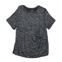 Ava & Viv Ruched Tunic Shirt Womens Size 2X XXL Gray Black Short Sleeve