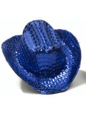 Women's Blue Sequin Mini Micro Cowboy Cowgirl Wild West Hat