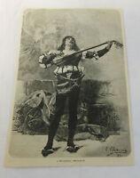 1885 magazine engraving ~ A TROUBADOUR