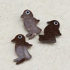 Coconut shell penguin buttons, back shank, pack of 3