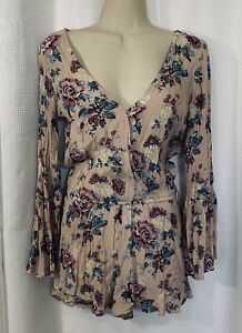 American Eagle Romper with Bell Sleeves Women's XXS Purple floral print viscose