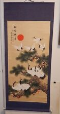HUGE CHINESE ORIGINAL WATERCOLOR SCROLL BIRDS PAINTING SIGNED PORCELAIN ARM