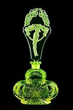 BEAUTIFUL - URANIUM PARROT - PESNICAK, Bohemian signed Perfume Bottle