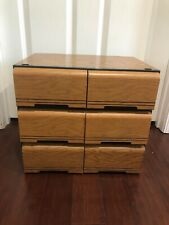 Lot x3 VHS VCR 18 CASSETTE TAPE DRAWER ORGANIZERS STORAGE BOX WOOD GRAIN LOOK