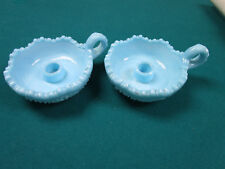 OLDE VIRGINIA FENTON MILK GLASS BLUE CANDLEHOLDERS WITH HANDLE [*COLOR]