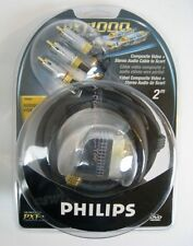 New PHILLIPS PXT1000 PFG660 Composite Video Stereo Audio SCART 24k Gold 2M CABLE