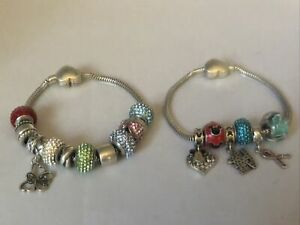 Lot Kay Jewelers Lot Of 2 Charmed Memories Bracelet Sterling Silver 14 Charms