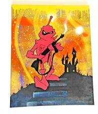 Original graffiti canvas wall art by Nickos - gun man castle painting picture