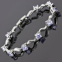Charming! Wedding Jewelry Tanzanite 18K White Gold Plated Round Cut Bracelet