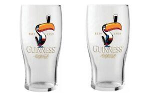 GUINNESS TOUCAN PINT GLASSES 2 PACK 20 oz  PREMIUM OFFICIALLY LICENSED