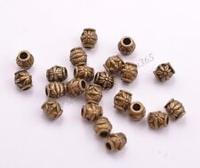 Antique Tibetan Silver Flower Oval Spacer Beads Jewelry Findings 2MM Hole BE3022