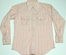 Vintage 60s Pearl Snap Western Shirt Pink White Floral Striped M 15- 15 1/2
