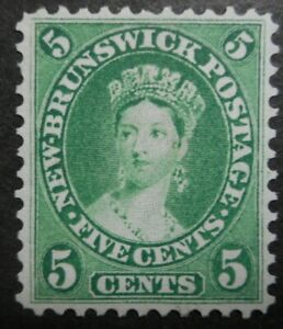 Canada stamps: New Brunswick: Scott#8a, 5c, Blue Green, Victoria, Issue of 1860