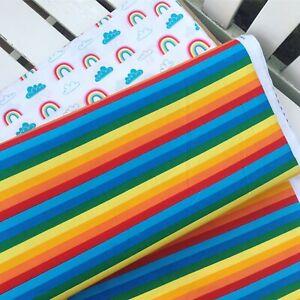 Bright wide stripes striped multicoloured rainbow 100% Cotton Fabric HALF METRE