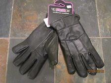Womens Black Genuine Leather Soft Motorcycle Gloves Biker - Size 2XL