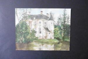 DUTCH SCHOOL 1874 - LANDSCAPE WITH CASTLE - WATERCOLOR MONOGR. HERMINA MARIUS