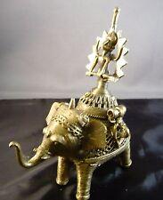 VINTAGE INDIA BASTAR DHOKRA TRIBAL DOME ELEPHANT FIGURE BOX STATUT GODESS LAXMI?