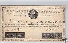 DOMAINES NATIONAUX ASSIGNAT 300 LIVRES 12.9.1791 FAUX D'EPOQUE N° 9145