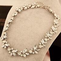 EG_ Women New Crystal Flower Pendant Statement Bib Choker Necklace Novelty