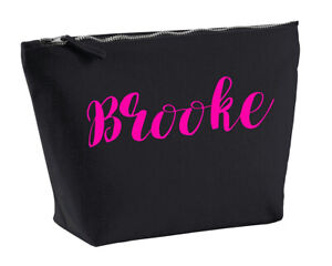 Brooke Personalised Make Up Accessory Bag In Black Colour Neon Pink Makeup