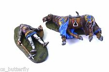 Knight fell, rider and horse 1/32 Tin Toy soldier Handmade Painted