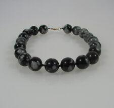 Schöne große Halskette Kette aus Schneeflocken Obsidian Kugeln 20 mm