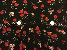 VTG EUC S&L Fashions Size 16 Made In USA Black Floral Print Button Back Dress