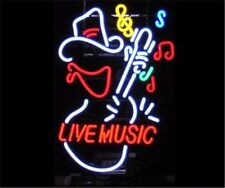 Live Music Guitar Neon Light Sign Display Garage Store Beer Bar Club Bar 17x14""