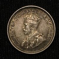 1929 Canada NEWFOUNDLAND 5 Cents SILVER KM# 13 Nice Toned Better Date Coin!